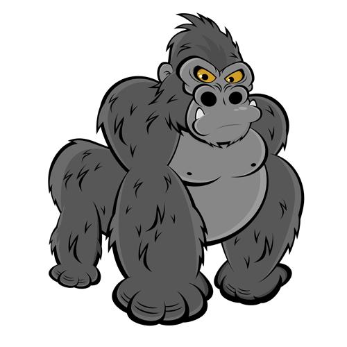 Amusing Gorilla Cartoon Styles Vector 05 Free Download