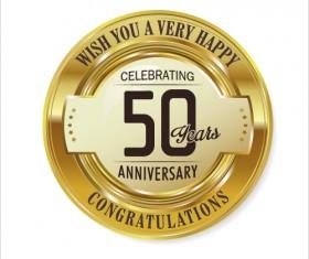 Anniversary 50 year golden label vector