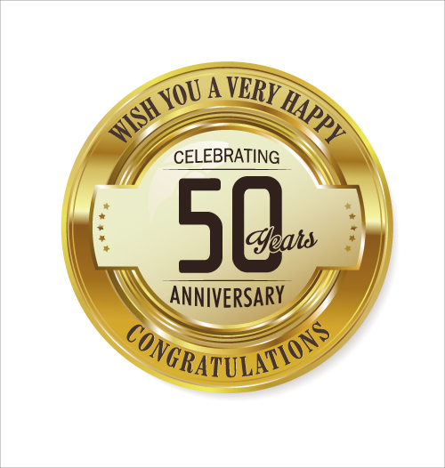 Anniversary 50 Year Golden Label Vector Free Download
