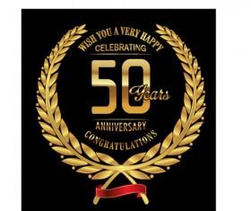 Anniversary celebration golden laurel wreath labels vector 03