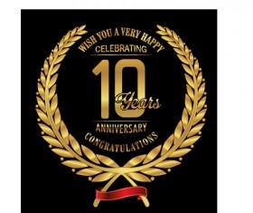 Anniversary celebration golden laurel wreath labels vector 04