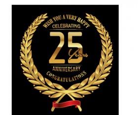 Anniversary celebration golden laurel wreath labels vector 05