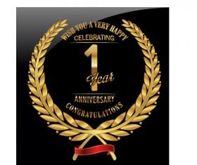 Anniversary celebration golden laurel wreath labels vector 06