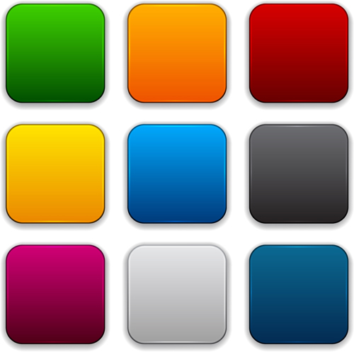 App button icons colored vector set 24