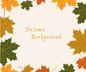 Autumn leaves vintage art background vector 01