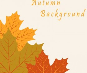 Autumn leaves vintage art background vector 03
