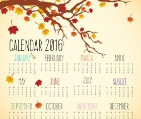 Autumn styles Calendar 2016 vector