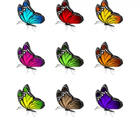Beautiful butterflies vector icons set 01