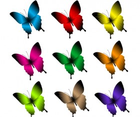 Beautiful butterflies vector icons set 02