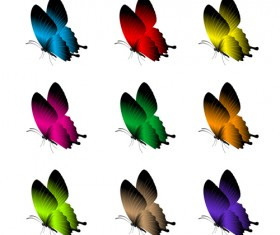 Beautiful butterflies vector icons set 03