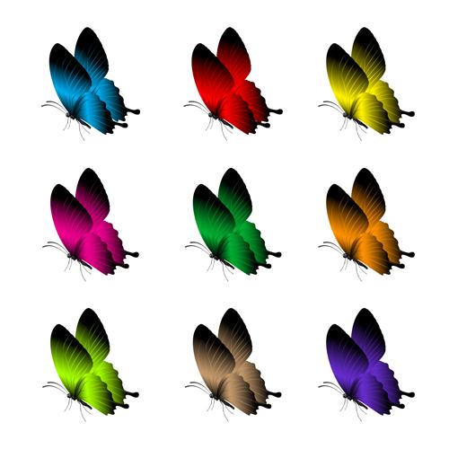 Beautiful butterflies vector icons set 03