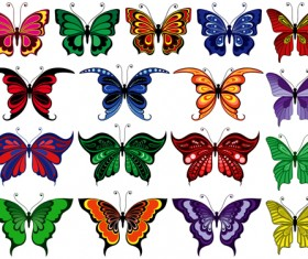 Beautiful butterflies vector icons set 04