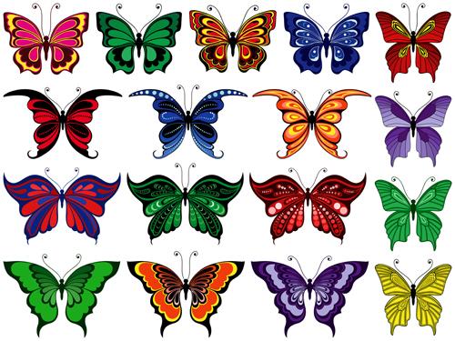 Beautiful butterflies vector icons set 04
