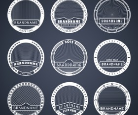 Blank laurel wreath labels vintage vector 03