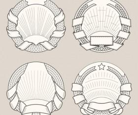 Blank laurel wreath labels vintage vector 04