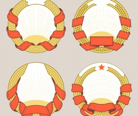 Blank laurel wreath labels vintage vector 07