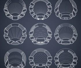 Blank laurel wreath labels vintage vector 09