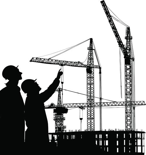 Black And White Building Construction : Building construction background vectors vector