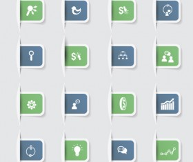 Business notes stickers icons vectors set 01