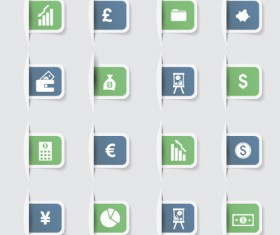 Business notes stickers icons vectors set 02
