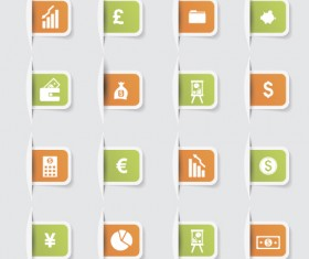 Business notes stickers icons vectors set 04