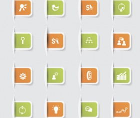 Business notes stickers icons vectors set 06