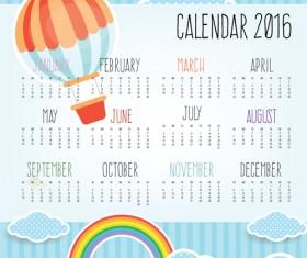 Calendar 2016 and hot balloon rainbow with cloud vector