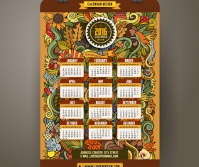 Calendar 2016 decorative pattern creative vector 01