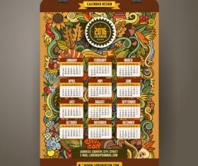 Calendar 2016 decorative pattern creative vector 01