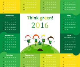 Calendar 2016 kids cartoon object vector 03