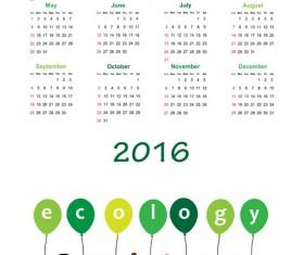 Calendar 2016 kids cartoon object vector 04