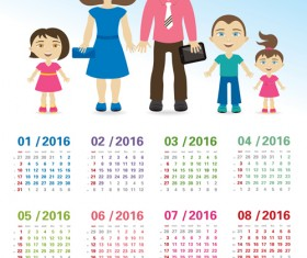 Calendar 2016 with family vector design 01