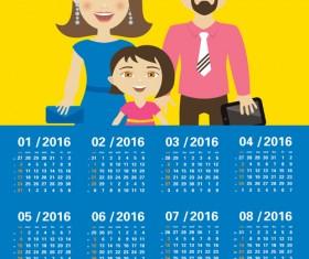 Calendar 2016 with family vector design 02