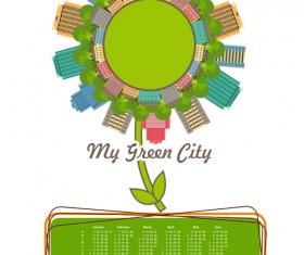 Calendar 2016 with green city vector 02