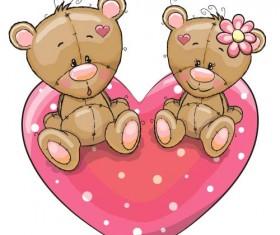 Cartoon animal with heart romantic cards vector 01