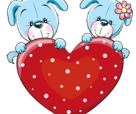 Cartoon animal with heart romantic cards vector 02