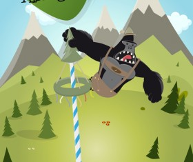 Cartoon gorilla and mountains vector