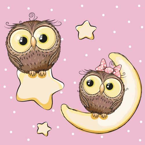 Cartoon owl with stars and moon card vector - Vector Animal ...