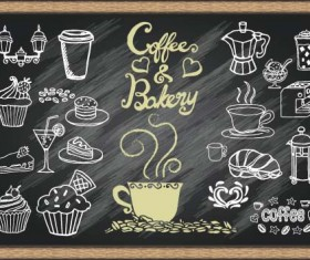 Chalked bakery with coffee design vector