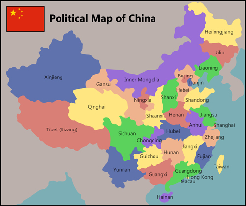 China political map vector material free download