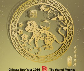 Chinese new year 2016 monkey design vector 01