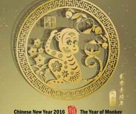 Chinese new year 2016 monkey design vector 02