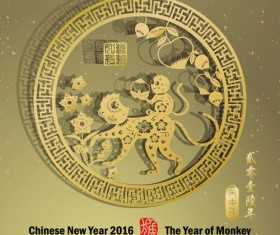 Chinese new year 2016 monkey design vector 03