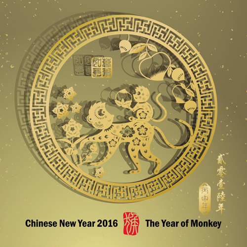 chinese new year 2016 monkey design vector 03 - 2016 Chinese New Year