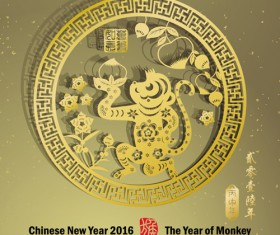 Chinese new year 2016 monkey design vector 04
