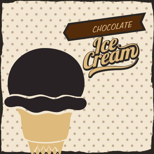 Chocolate ice cream vintage cards vectors set 03