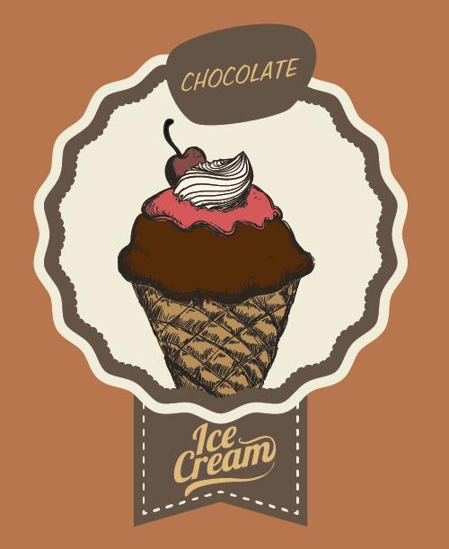 Chocolate ice cream vintage cards vectors set 04