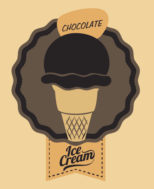 Chocolate ice cream vintage cards vectors set 05