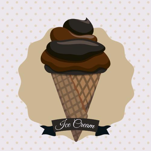 Chocolate ice cream vintage cards vectors set 07