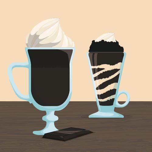 Chocolate ice cream vintage cards vectors set 08